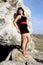 Stock Image : Beauty girl on the rock