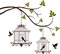 Stock Image : Beauty tree silhouette with birds flying and bird in a cage