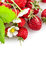 Stock Image : Berries fresh wild strawberries with green leaf and flowers