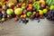 Stock Image : Big assortment of Fresh Organic Fruits, frame composition on woo