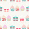 Stock Image : Birthday background with cupcakes and gifts