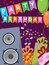 Birthday card with audio speakers, gifts and flags. Vector
