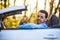 Stock Image : Black latin american driver making thumbs up