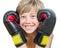 Stock Image :  Blond chłopiec z bokserskimi rękawiczkami