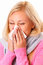 Stock Image : Blonde woman with rhinitis
