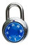 Stock Image : A blue combination pad lock