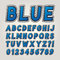 Stock Image : Blue Comic Sticker Alphabet and Numbers