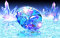 Stock Image : Blue diamond on water