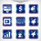 Stock Image : Blue finance icons set