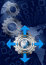 Stock Image : Blue and Metal Industrial Gears Background