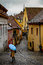 Stock Image : Blue Umbrella In Sighisoara Romania