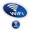 Stock Image : Blue Wi-Fi Button Logo