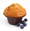 Stock Image : Blueberry muffin with fresh fruit on white