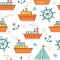 Stock Image : Boats and ships seamless pattern