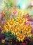 Stock Image :  Boeket van multicolored bloemenwaterverf het schilderen stijl