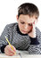 Stock Image : Boy with a notebook and pen
