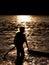 Stock Image : Boy paddle boarding