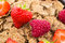 Stock Image : Bran flakes with fresh raspberries and strawberries