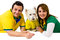Stock Image : Brazilian couple and pet supporters