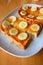 Stock Image : Bread toast with honey and banana
