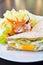 Stock Image : Breakfast,Club sandwich and salad
