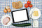 Stock Image : Breakfast table with blank digital tablet