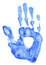 Stock Image : Bright blue handprint