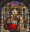 Stock Image : Brussels - The Holy Trinity on windwopane from 19.