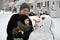 Stock Image : Building a Snowman