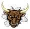Stock Image : Bull charging through wall