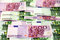 Stock Image : Bunch of 100 and 500 euro banknotes (arranged)