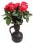 Stock Image : Bunch of red roses in black ceramic jug