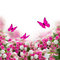Stock Image : Bunch of roses and tulips flowers with butterflies