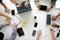 Business Meeting Team Brainstorming Corporate top view brainstor