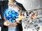Stock Image : Businessman holding business world