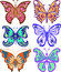 Stock Image : Butterflies variety of complex shape. Decoration silhouette