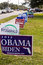 Stock Image : Candidate signs outside polling place during presidential election