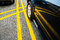 Stock Image : Car parked between yellow lines