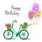 Card for Birthday with bicycle and balloons