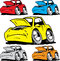 Stock Image : Cartoon cars set needing in repair