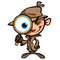 Stock Image : Cartoon cute detective investigate with brown coat and eye glass
