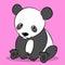 Stock Image : Cartoon cute panda bear looking at camera