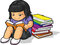 Stock Image : Cartoon of Girl Student Studying & Reading Book