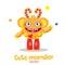 Cartoon Monster Ball Mascot. Magic Wand Monster. Inflatable Funny Sun. Monsters University. Vector Fantastic Animals.