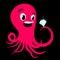 Stock Image : Cartoon octopus with a diamond ring