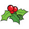 Stock Image : Cartoon  red and green mistletoe ornament with black outli