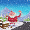 Stock Image : Cartoon Santa Claus hitchhike road side broken luge accident  co