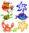 Stock Image : Cartoon sea characters set