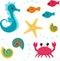Stock Image : Cartoon sea life set 3