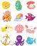Stock Image : Cartoon set of sea animals